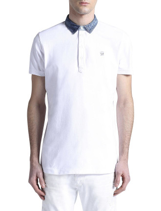 T-Brillo Polo W/Contrast Denim Collar