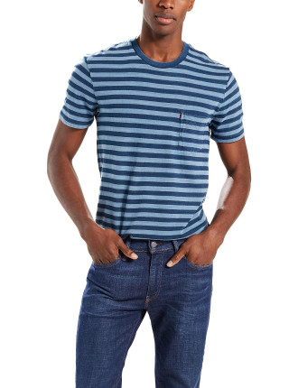 Ss Sunset Pocket Tee Striped