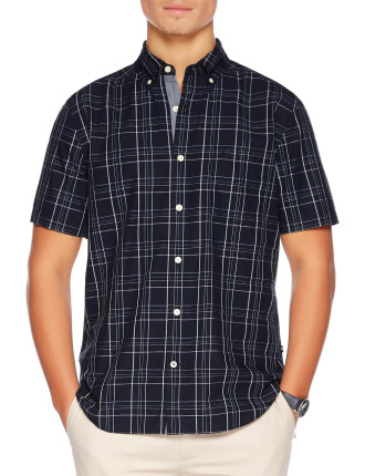 Short Sleeve Windowpane Shirt
