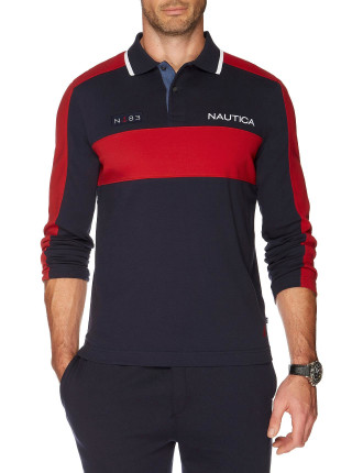 Long Sleeve Heavy Jersey Colourblock Polo