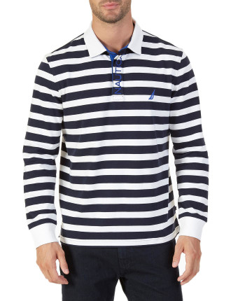 Long Sleeve Stripe Rugby Bright White