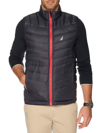 HOODED DOWN QUILTED VEST TRUE NAVY