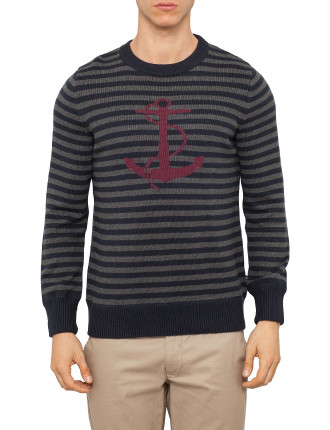 Ls Cn Anchor Stripe Swtr
