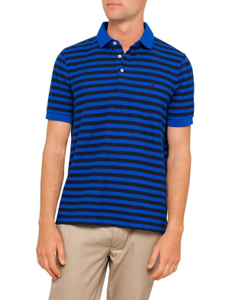 Short Sleeve Stripe Performance Polo