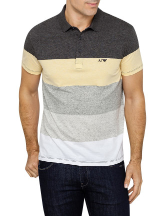STRIPED PANELLED POLO TOP