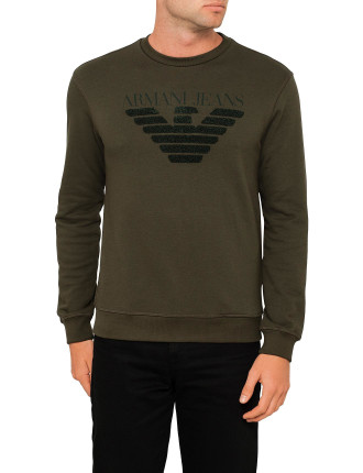 TEXTURED EAGLE MOTIF CREW SWEAT