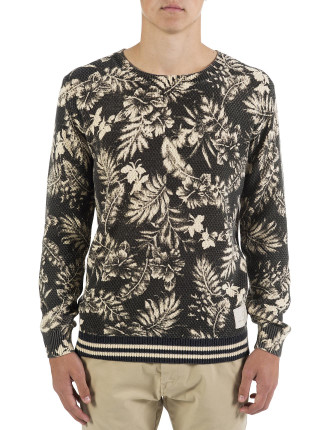 Allover Printed Cn Cable Knit