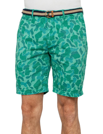 Camo Garment Dyed Relaxed Fit With Belt Short
