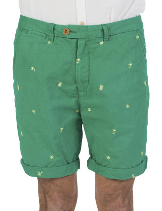 Allover Embroidered Palm Chino Short