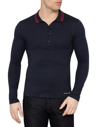 Long Sleeve Contrast Trim Collar Polo