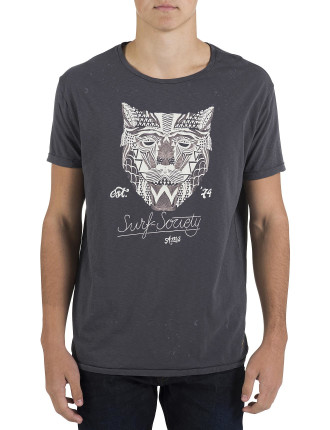 Crew Neck Tiger Paint Print T-Shirt