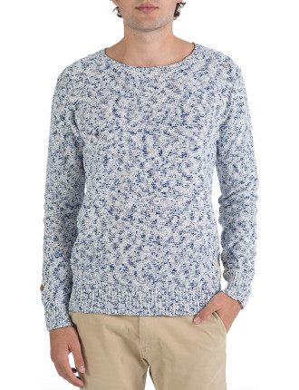 Crew Neck Knitted Cotton Space Dye Knit