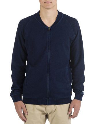 Indigo Wash Textured Sweat Zip Thru