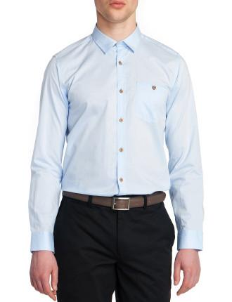 Long Sleeve Tiny Heringbone Shirt