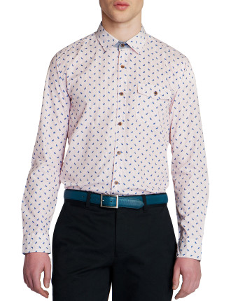 Long Sleeve Printed Paisley Stripe Shirt