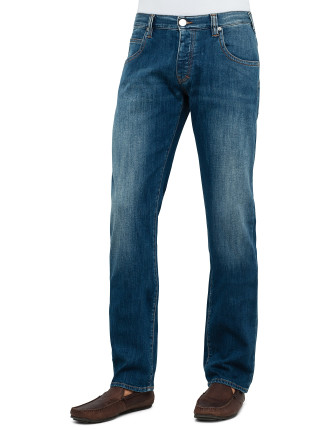 Mid Wash Light Rinse Tobacco Stitch Jean