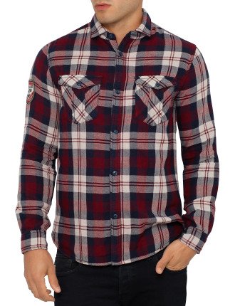 Long Sleeve Check Flannel Logo Shirt
