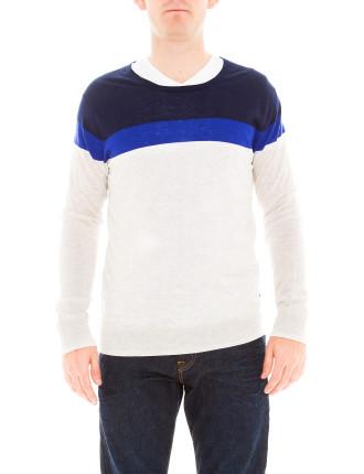 Crew Neck Contrast Stripe Pullover Knit