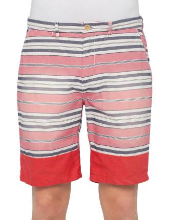 Washed Red & Black Stripe Short