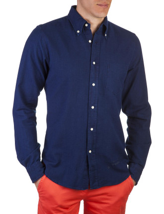 R. Indigo Oxford Solid Indigo Shirt