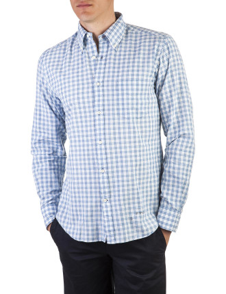 R. Indigo Madras Pale Blue Button Down Shirt