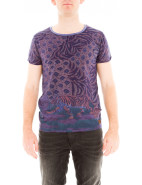 Short Sleeve Peacock Print Crew Neck Tee $69.95