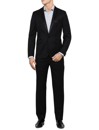 1 Button Notch Lapel Silk Edge Suit
