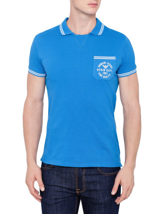Short Sleeve Contrast Trim & Logo Pocket Polo