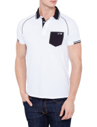 Short Sleeve Contrast Black Collar & Pocket Polo $129.00