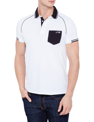 Short Sleeve Contrast Black Collar & Pocket Polo