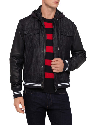 Removable Hood Baseball Jacket