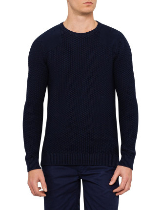 Long Sleeve Trenton Crew Neck Panel Sweater