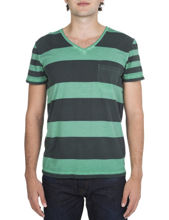 Oil Washed With Chest Pocket Stripe Tee