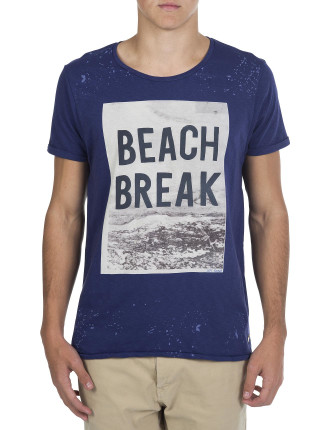 Crew Neck Beach Break Photo Print T-Shirt