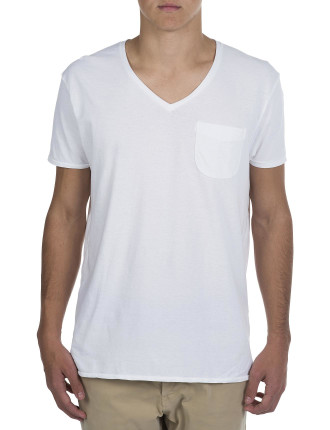 Classic Garment Dyed Vneck With Chest Pocket T-Shirt