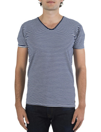 Basic Cotton / Lycra V Neck Stripe T-Shirt