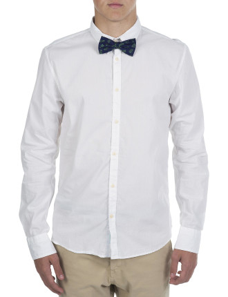 Long Sleeve Solid With Pinapple Bow Tie Shirt
