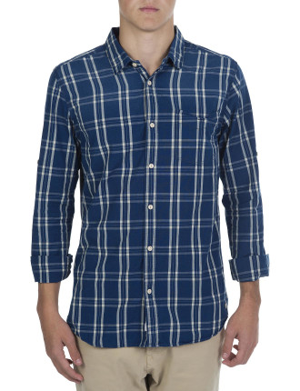 Long Sleeve Wide Check Contrast Inner Cufflink Shirt