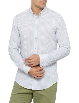 Emotione Long Sleeve Twist Collar Pink & Grey Stripe