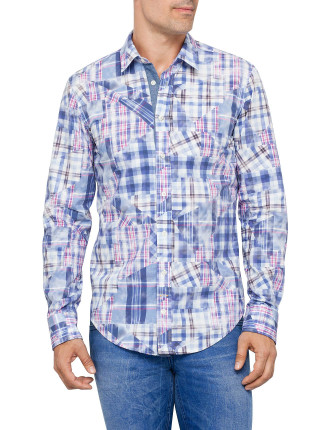 Cliffe Long Sleeve Washed Abstract Check Shirt