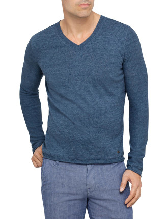 Amorfo Longsleeve V Neck Cotton Linen Knit