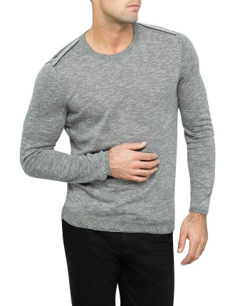 Antho Contrast Back York Cotton Linen Crew Neck Sweater