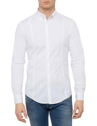 Long Sleeve Poplin Stretch Solid Shirt
