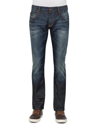 Contrast Stitch Dirty Denim Wash Jean