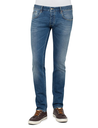 Contrast Stitch Comfort Stretch Mid Blue Jean