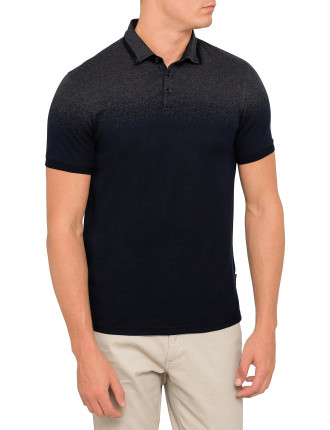 Short Sleeve Jacquard Graduated Spray Effect Polo