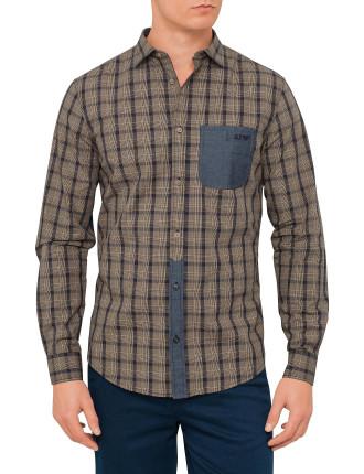 Check Shirt With Denim Pocket And Part Plackett