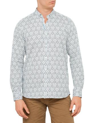 Ls Printed Shirt Floral Circle Shirt