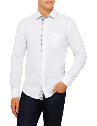 White Shirt With Printed Placket