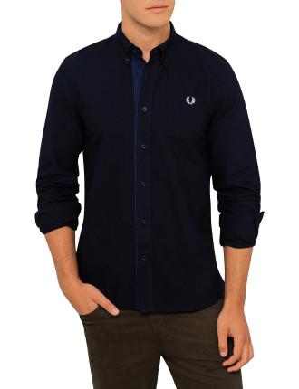 Gingham Trim Oxford Shirt
